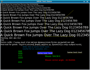 SIEGE window displaying rendered non-ASCII text